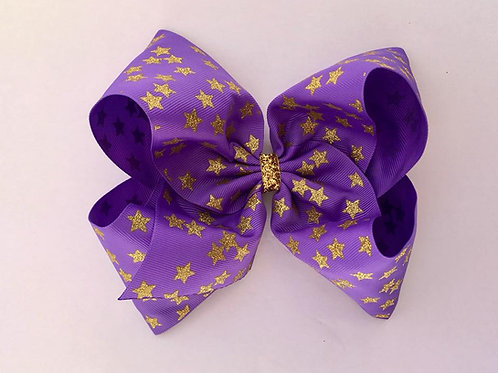 Gold Glitter Stars on delphinium Texas sized Loopy Bow