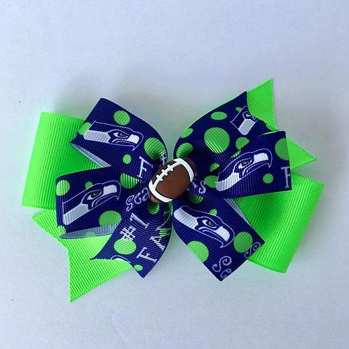 Seattle Seahawks Fan double pinwheel bow