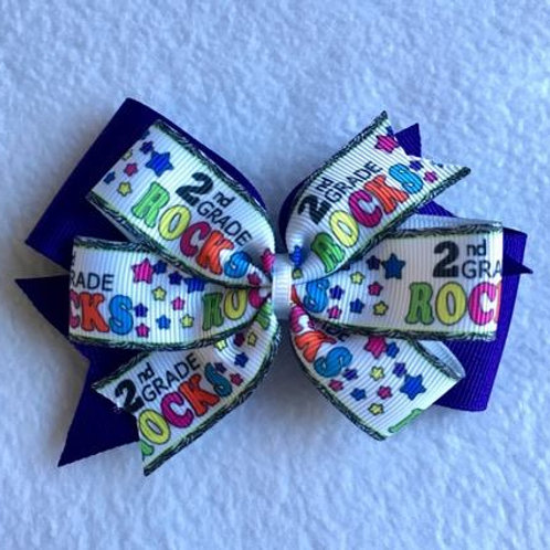 2nd Grade Rocks double pinwheel bow