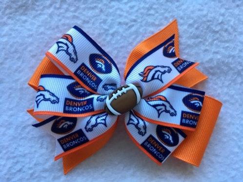Denver Broncos double pinwheel bow
