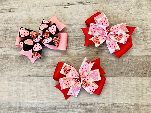 Heart Cookies Double Pinwheel Bow