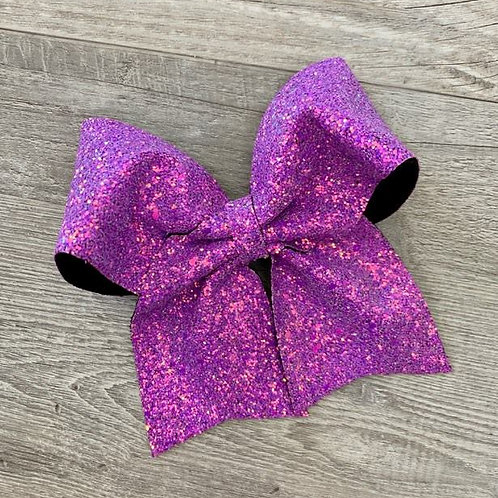 Grape Chunky Glitter Cheer Bow
