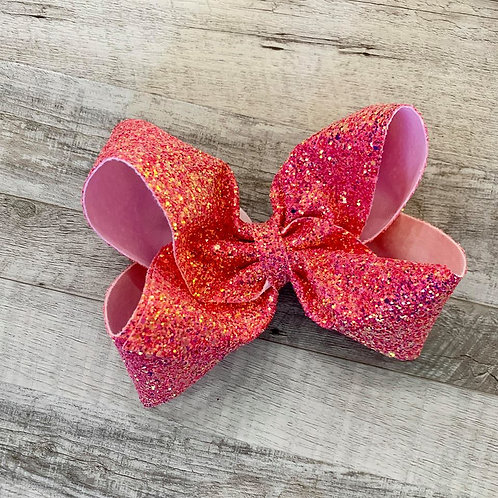 Tropical Pink Chunky Glitter Texas sized Loopy Bow