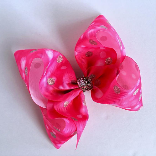 Pink & Silver glitter Texas sized Loopy Bow