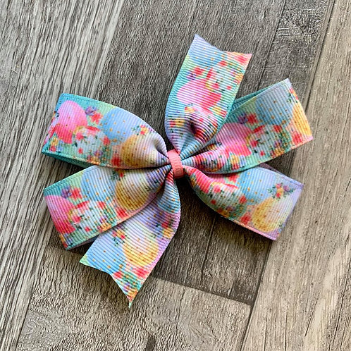 Watercolor Eggs Mini Pinwheel Bow