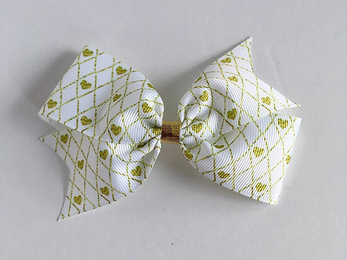 Gold Hearts Single Loop Bow