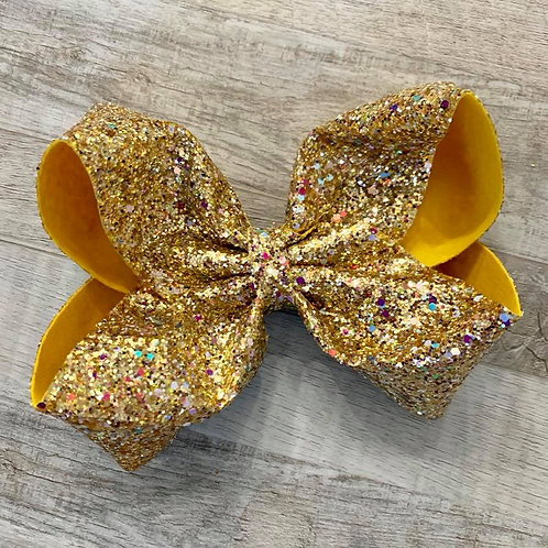 Gold Chunky Glitter Texas sized Loopy Bow