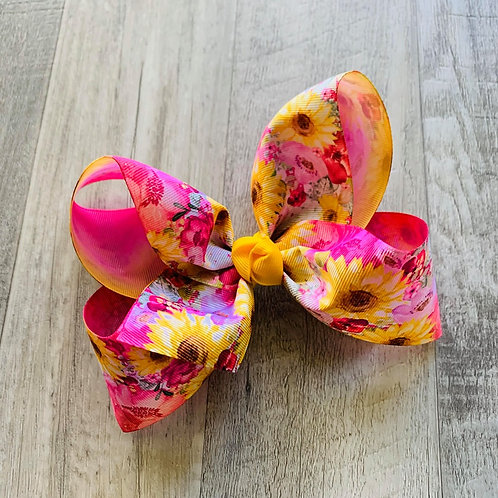 Spring Floral Loopy Bow