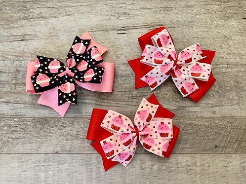 Glitter Cupcakes Double Pinwheel Bow