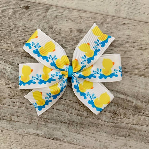 Rubber Duckie Mini Pinwheel Bow