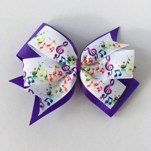 Colorful Music notes double pinwheel bow