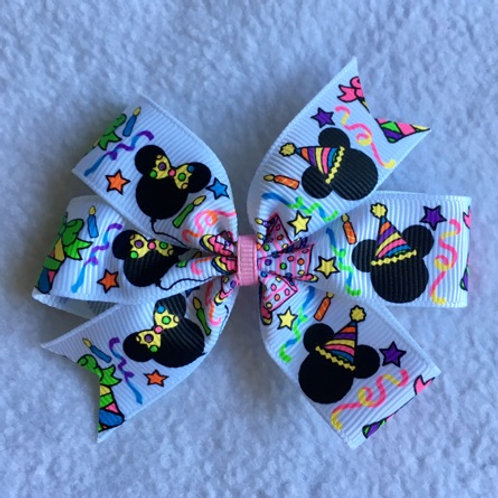 Birthday Mickey & Minnie Mini Pinwheel Bow