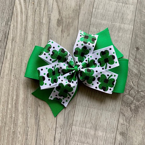 Buffalo Plaid Shamrock Double Pinwheel Bow