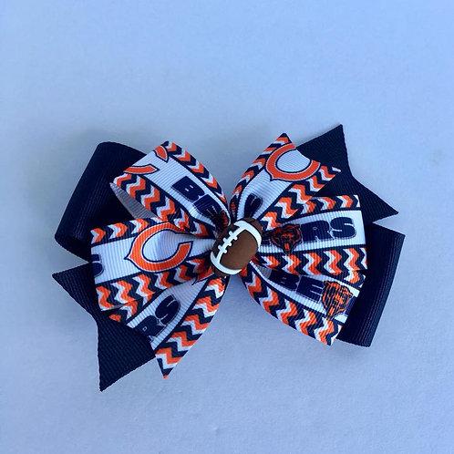 Chicago Bears double pinwheel bow