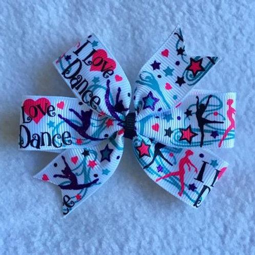 I Love Dance mini pinwheel bow