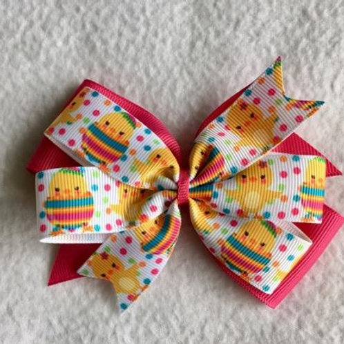 Easter Chicks Double Pinwheel Bow