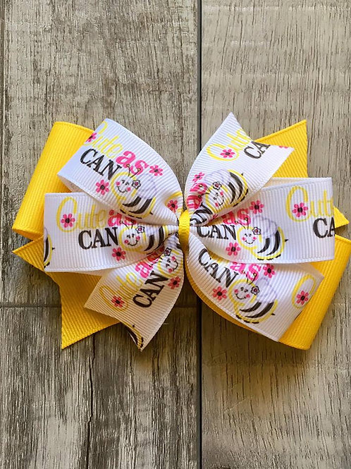 Cute as can Bee double pinwheel bow
