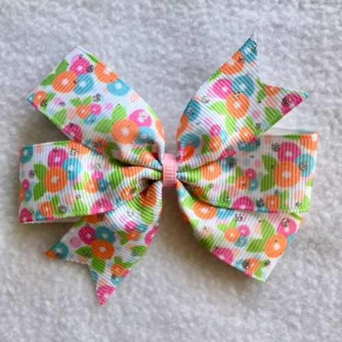 Spring Floral Mini Pinwheel Bow