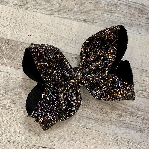 Black Chunky Glitter Texas sized Loopy Bow