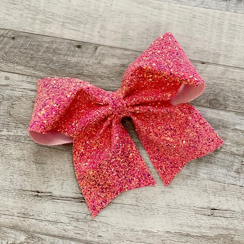 Tropical Pink Chunky Glitter Cheer Bow