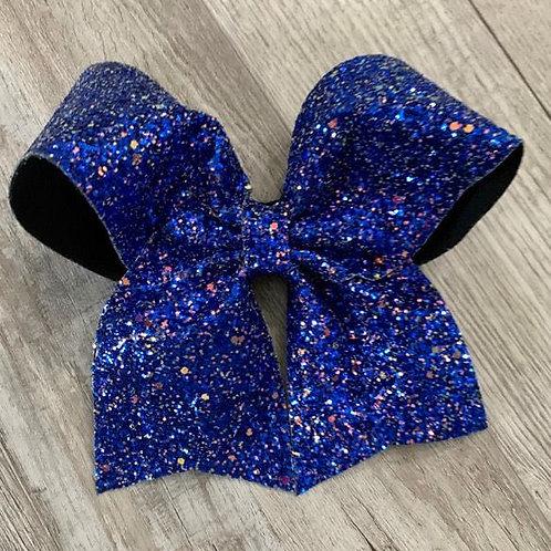 Royal Blue Chunky Glitter Cheer Bow