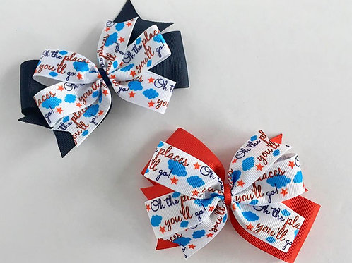 Oh the Places You'll Go double pinwheel bow