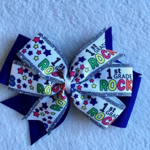 1st Grade Rocks double pinwheel bow