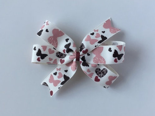 Butterflies & Hearts Mini Pinwheel Bow