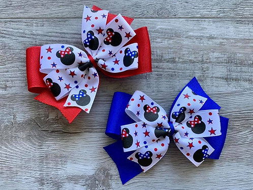 Stars & Stripes Minnie Mouse Double Pinwheel Bow