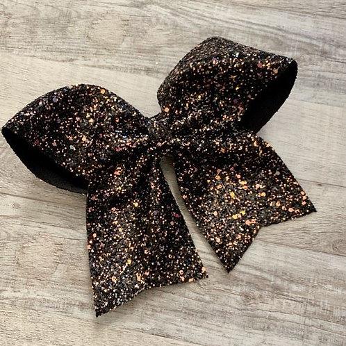 Black Chunky Glitter Cheer Bow
