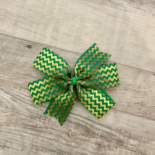 Green Chevron Mini Pinwheel Bow (this is not foil ribbon)