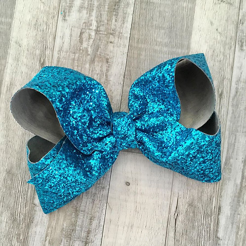 Chunky Glitter Turquoise Texas sized Loopy Bow
