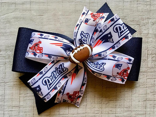 New England Patriots double pinwheel bow