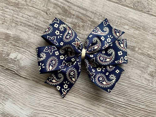SALE Navy Paisley Mini Pinwheel Bow