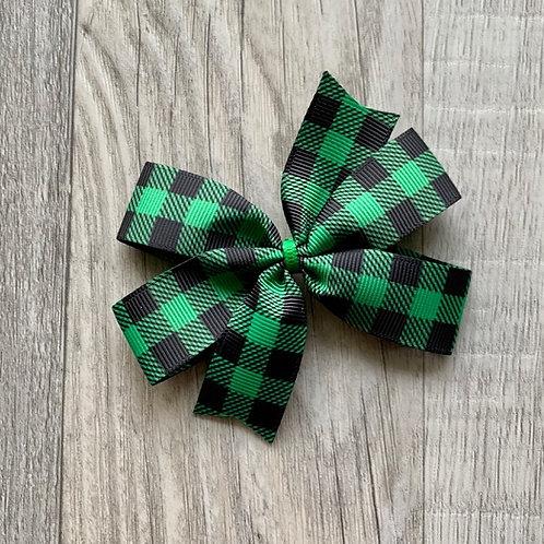 Green Buffalo Plaid Mini Pinwheel Bow