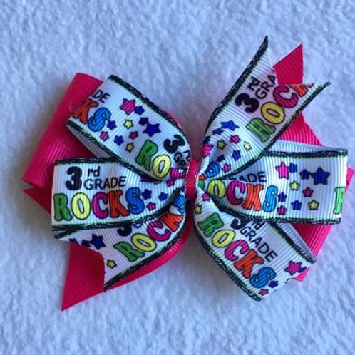 3rd Grade Rocks double pinwheel bow