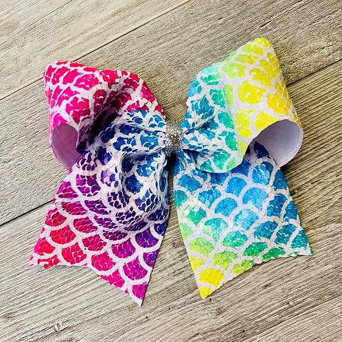 Rainbow Mermaid Flip Sequin Cheer Bow