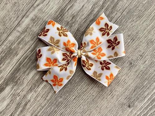 Vintage leaves mini pinwheel bow