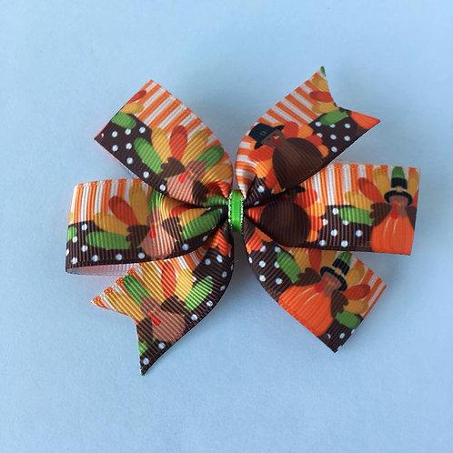 Turkeys mini pinwheel bow