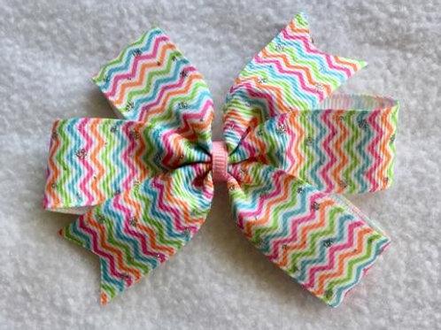 Spring Chevron Mini Pinwheel Bow