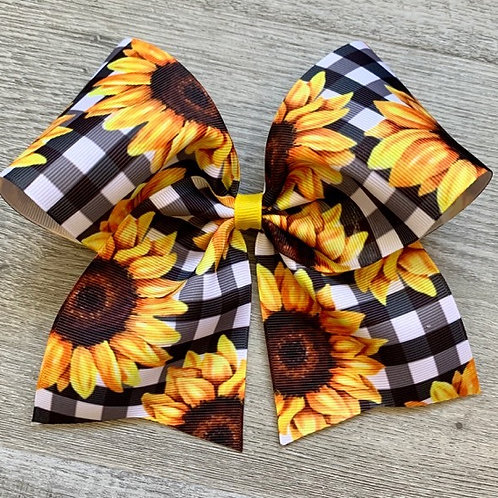 Black/White Sunflowers Cheer Style Bow
