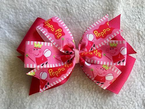 Peppa Pig Double Pinwheel Bow