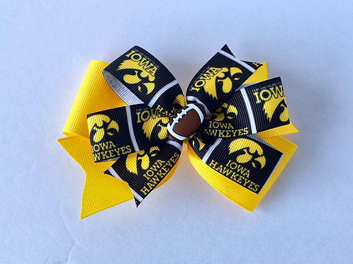 Iowa Hawkeyes double pinwheel bow