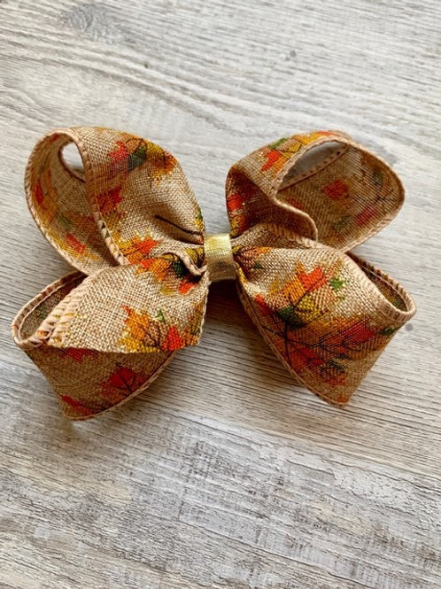Leaves burlap Loopy Bow