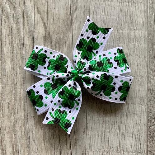 Buffalo Plaid Shamrocks Mini Pinwheel Bow