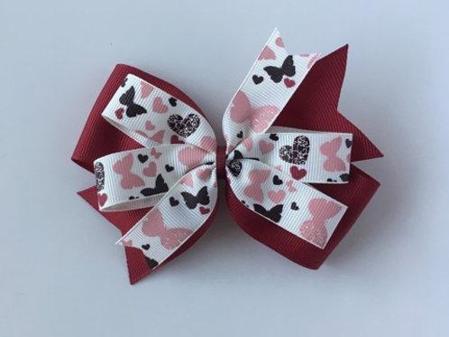 Butterflies & Hearts Double Pinwheel Bow