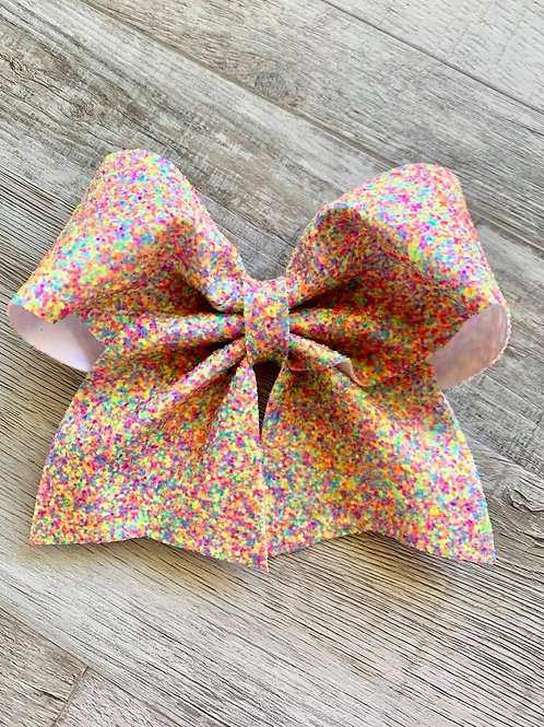 Rainbow Sprinkles Chunky Glitter Cheer Bow