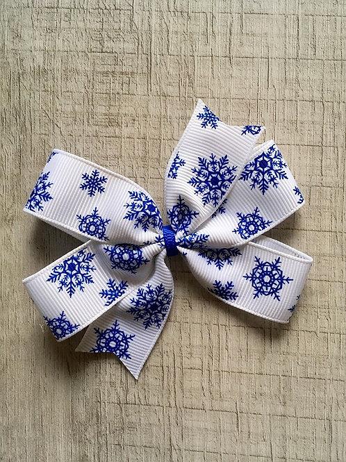 Blue Snowflakes mini pinwheel bow