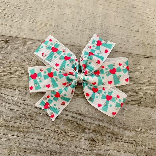 Heart Cross Mini Pinwheel Bow