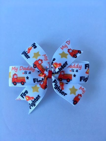 SALE My Daddy is a Fire Fighter mini pinwheel bow